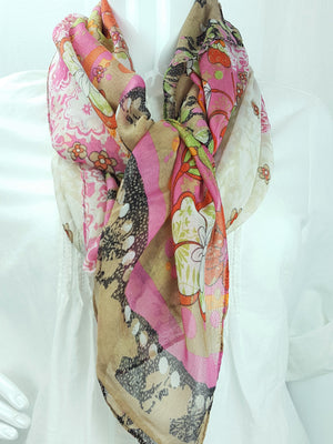 Floral Coral Print Oblong Scarf