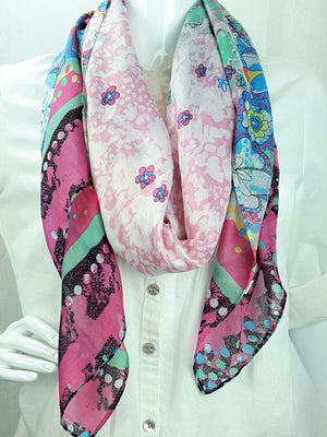 Floral Fuscia Print Oblong Scarf
