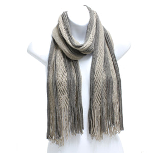 Two Tone Knit Oblong Scarf - 4 colors