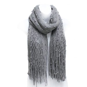 Winter FishNet Bobbles Knit Long Scarf with Fringe - 5 colors