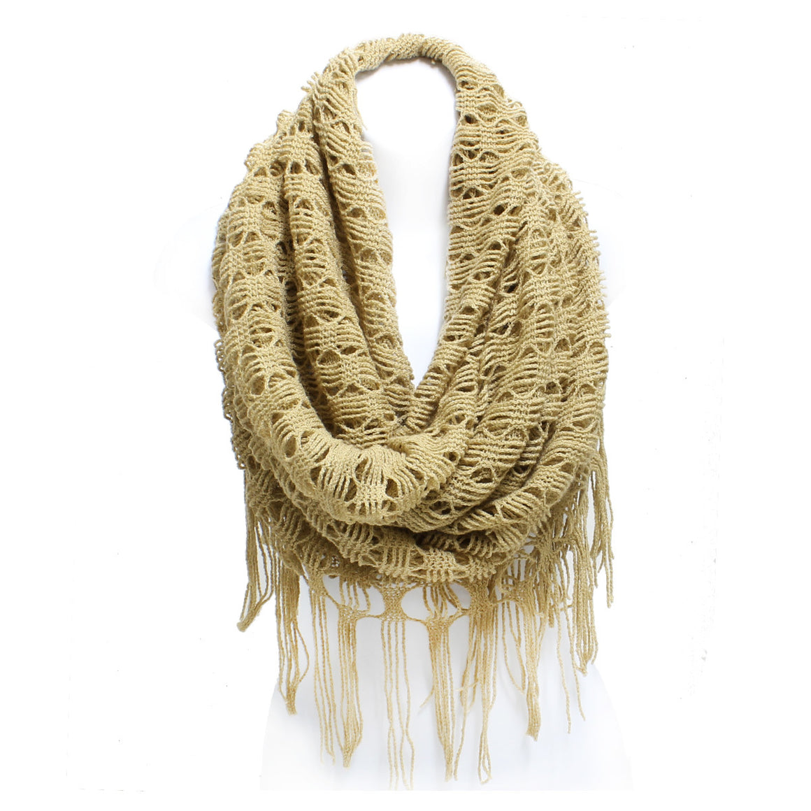 Winter Diamond Knit Long Tube Scarf with Fringe - 6 colors