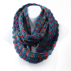 Winter Multi-color Chunky Knit Infinity Scarf - 4 color choices