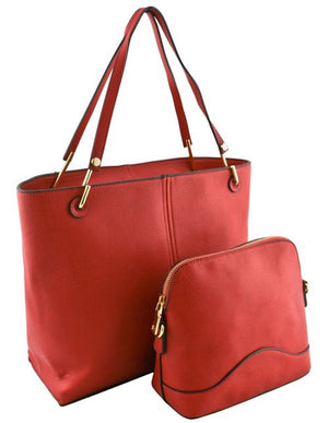 Designer 2 Bag Set Solid Color Tote - 3 colors
