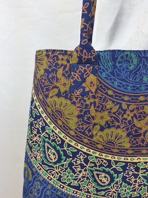 Indian Mandala Tote Royal Blue/Forest Green/Gold