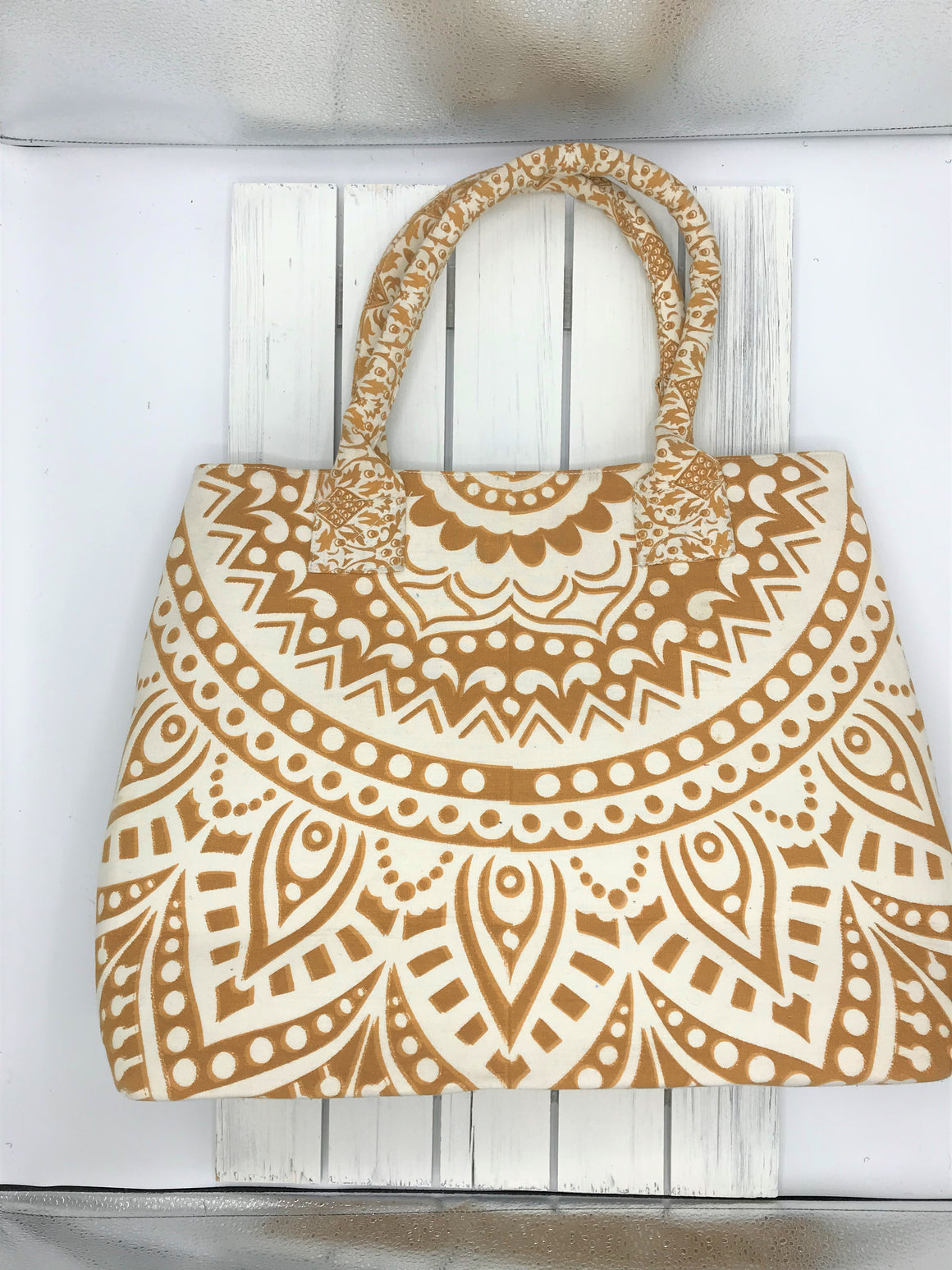 Indian Mandala Bag - Gold Beige
