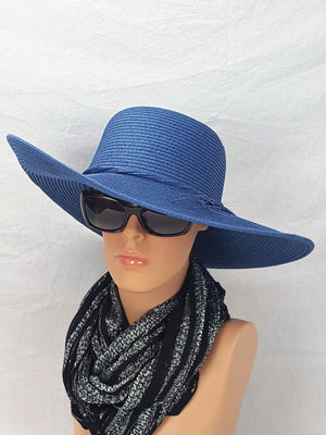 Straw Hat with Band Tie - Blue