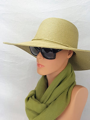 Straw Hat with Band Tie - Sage