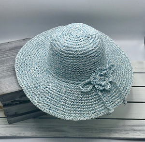 Hand Crocheted Summer Hat Wide Brim w/matching Flower