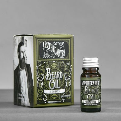 Apothecary87 Beard Oil The Unscented 10ml Box and Bottle