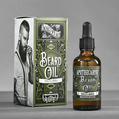 Apothecary87 Beard Oil Vanilla Mango 50ml Bottle and Box