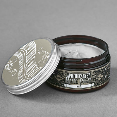Apothecary87 Matte Paste Matte Firm Hold Hair Styling Pomade Tub Open
