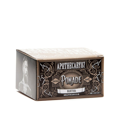 Apothecary87 Pomade High Shine Strong Hold Hair Styling Pomade Box Side