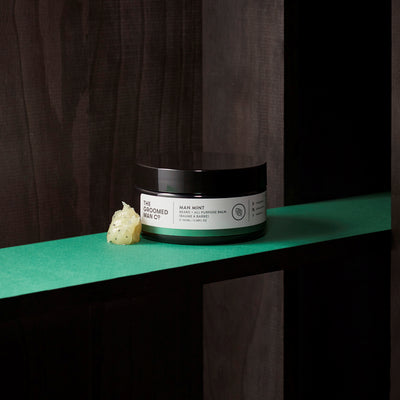 The Groomed Man Co. Man Mint Premium Beard Balm on Wood Shelve