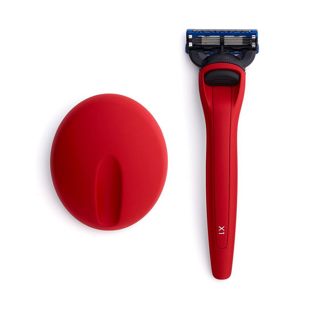 Bolin Webb X1 Fusion5 Razor & Stand Matte Red Top Side by Side