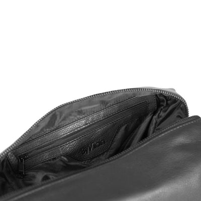 By Vilain Toiletry Bag Black Leather Interior Closeup
