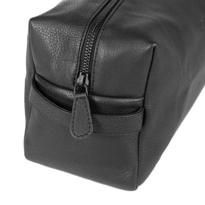 By Vilain Toiletry Bag Black Leather Side Closeup