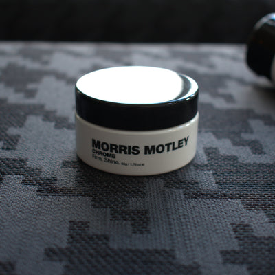 Morris Motley Chrome Travel Size Hair Styling Cream on Hester Couch Front
