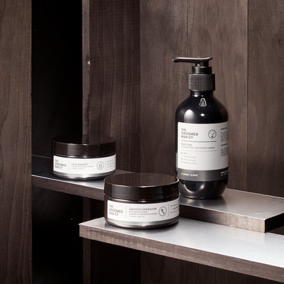 The Groomed Man Co. Fresh Face Kit on Wood Shelve