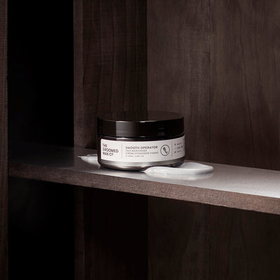 The Groomed Man Co. Smooth Operator Premium Face Moisturiser on Wood Shelve