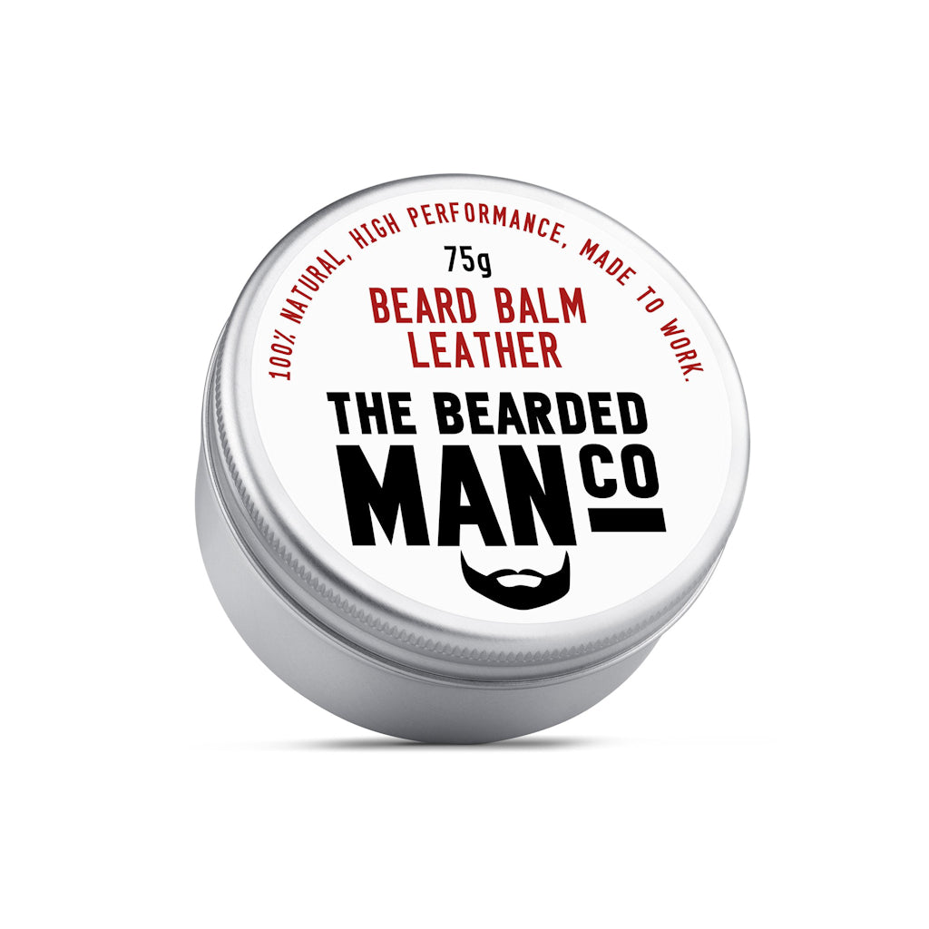 The Bearded Man Company Leather 75g All Natural Beard Balm Front