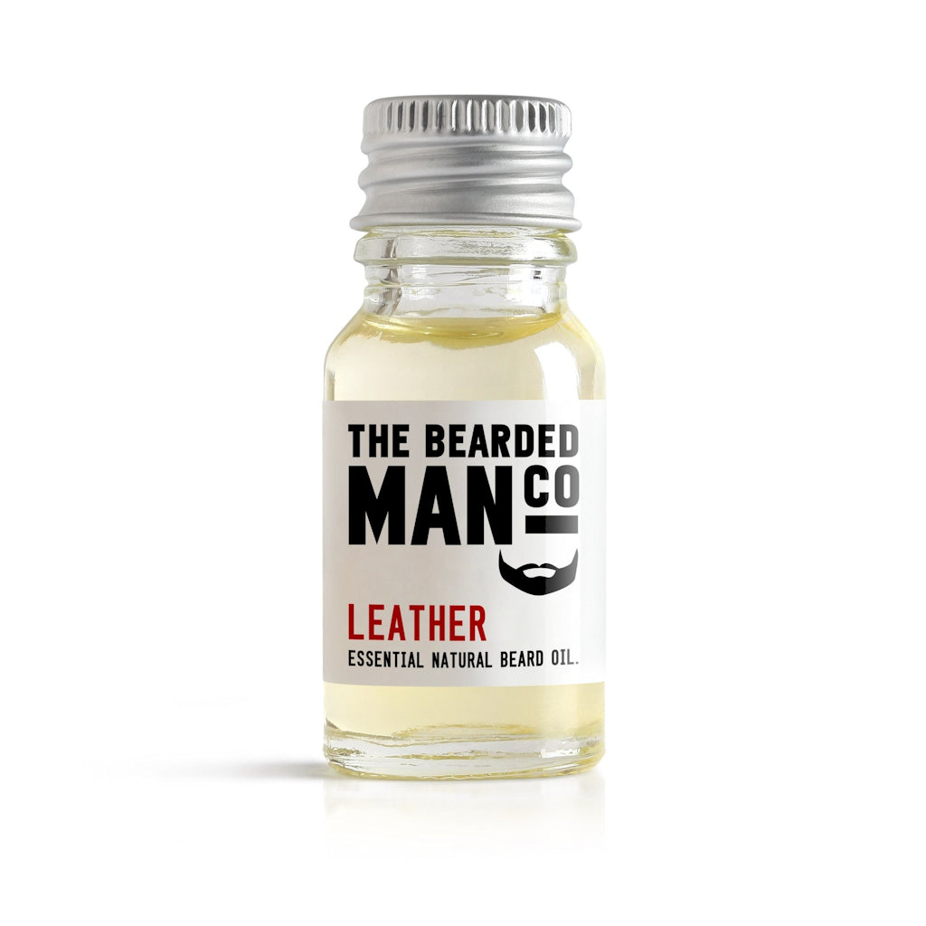 The Bearded Man Company Leather 10ml All Natural Beard Oil Front