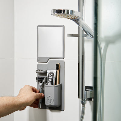 Tooletries The Harvey & Oliver Set Razor Holder & Mirror in Shower - Gray