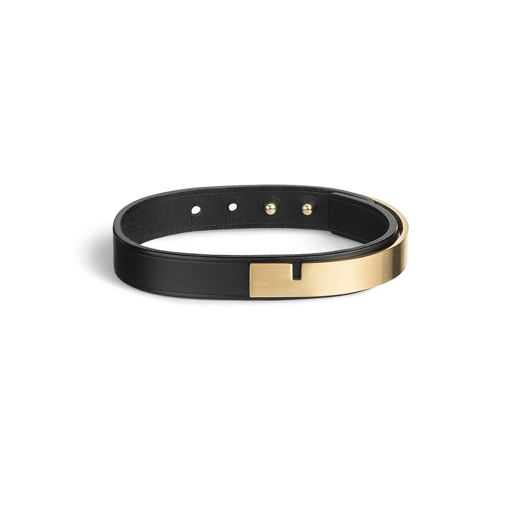 U-Turn Simple Black Leather Bracelet - Gold