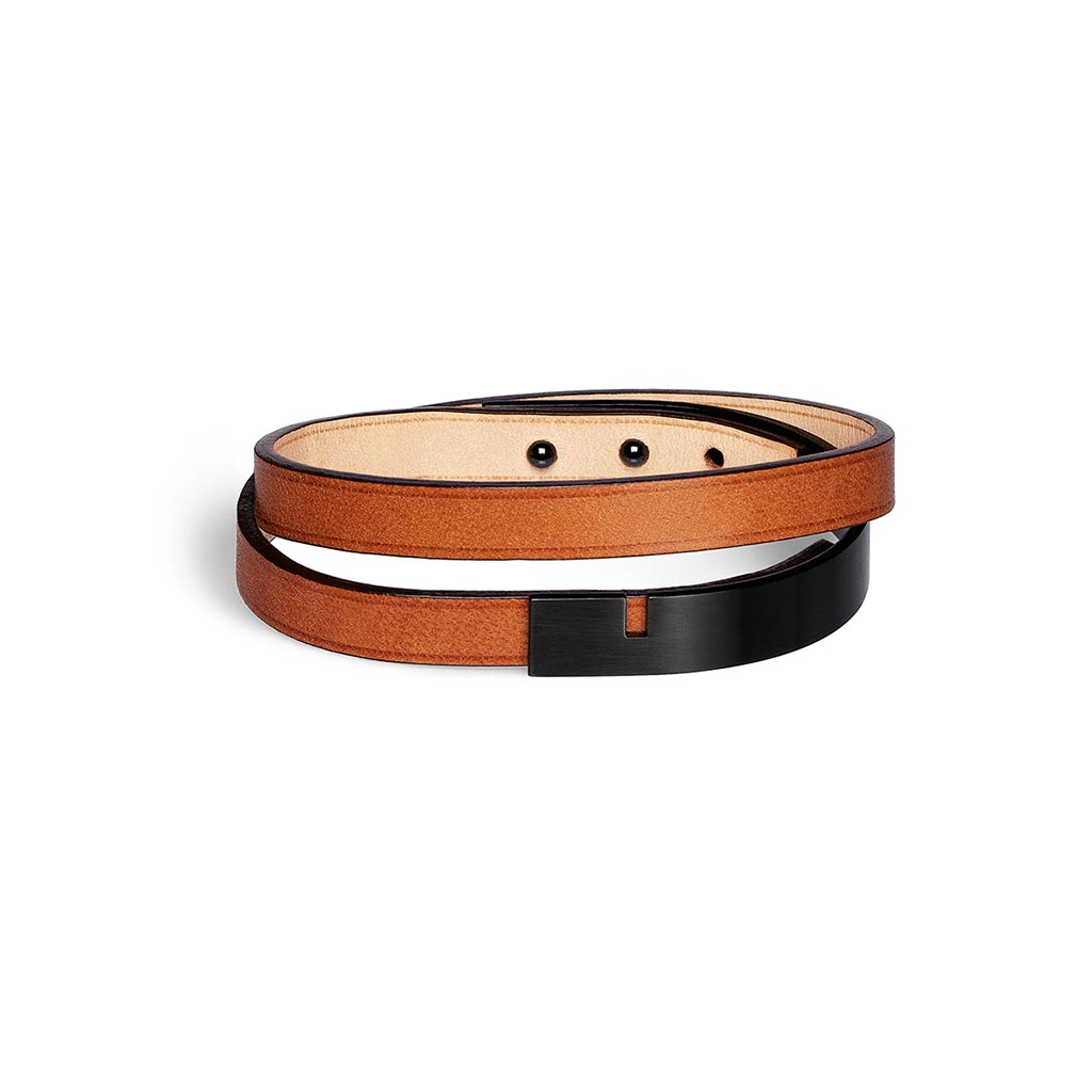 Ursul U-Turn Twice Camel Leather Bracelet Black