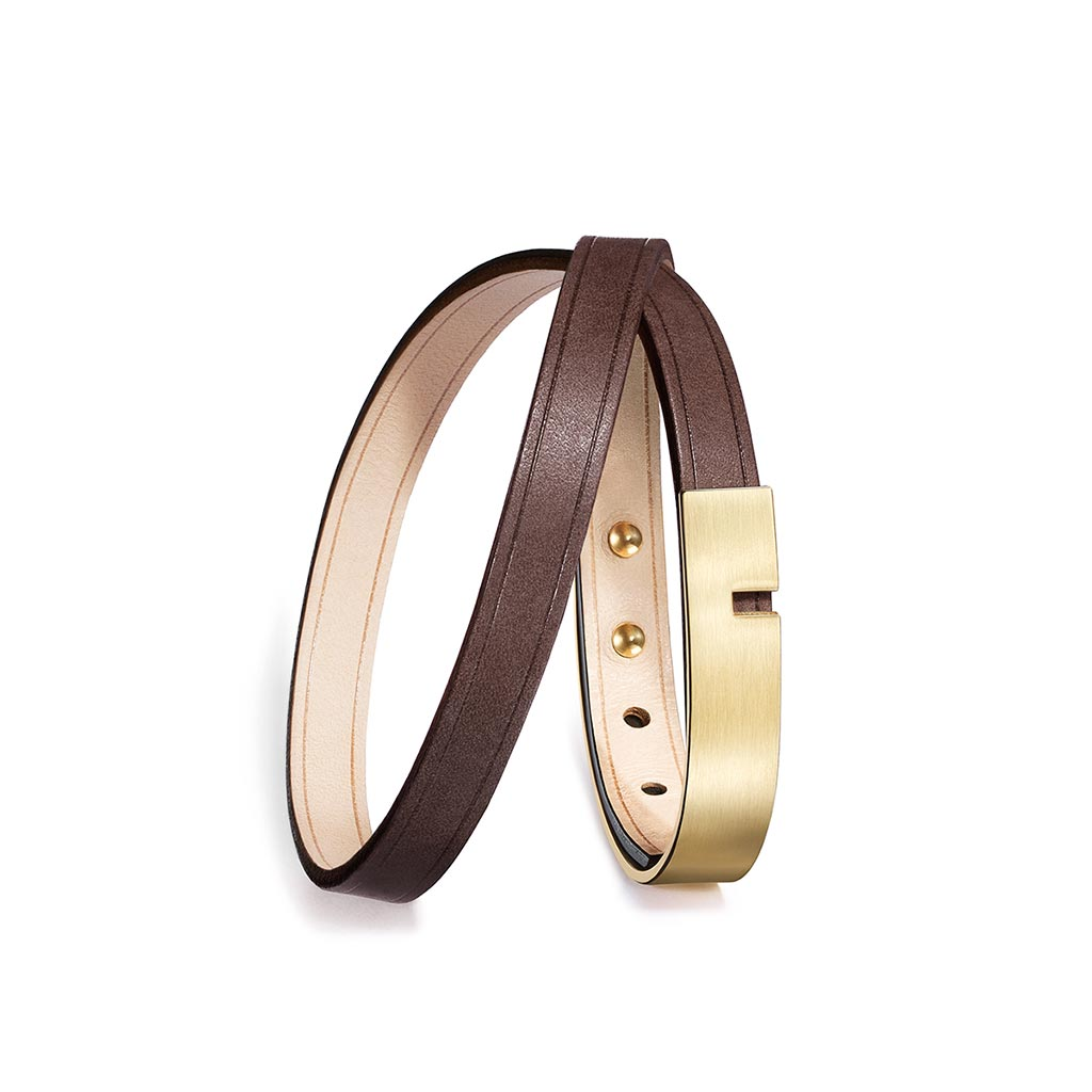 U-Turn Twice Chocolate Leather Bracelet - Gold