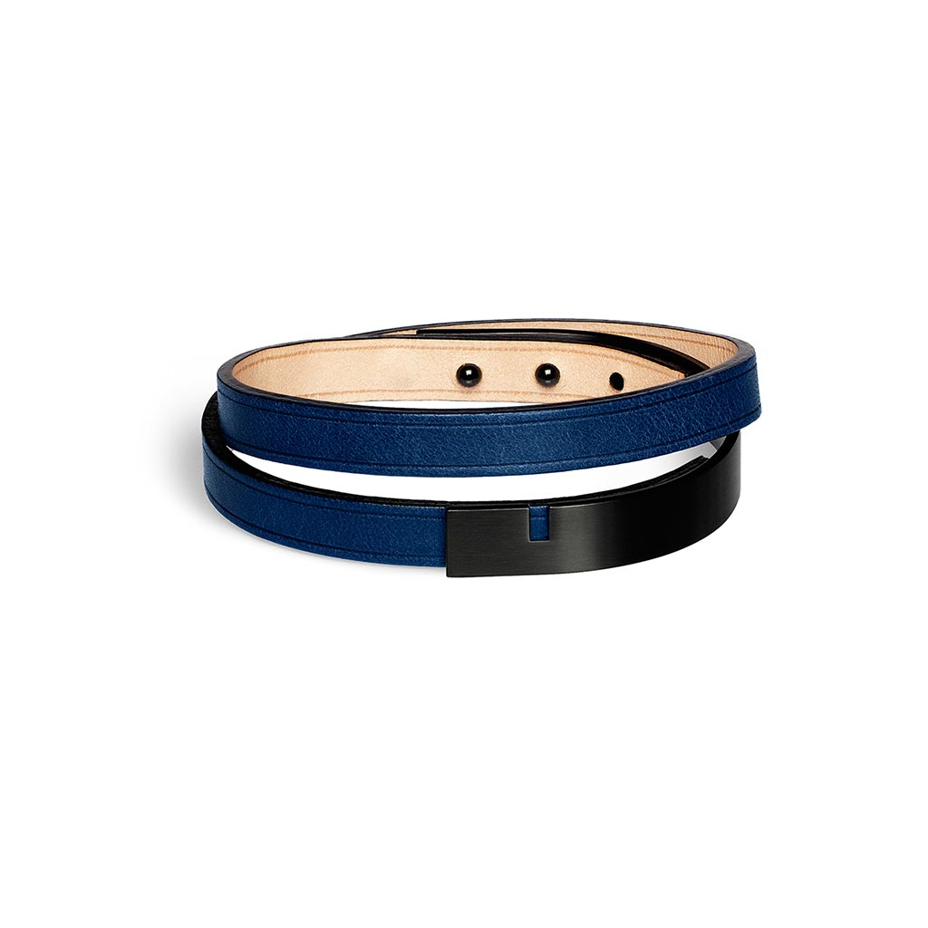 U-Turn Twice Navy Leather Bracelet - Black