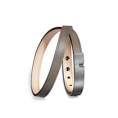 Ursul U-Turn Twice Silex Leather Bracelet Gunmetal