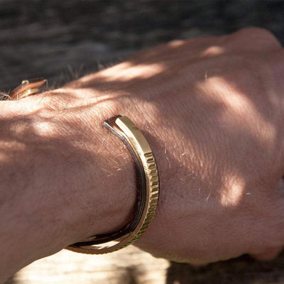 Brown Leather Gold Bangle