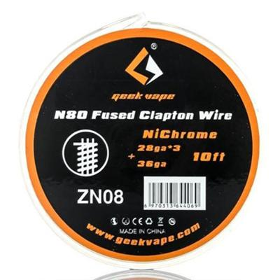 GeekVape N80 Fused Clapton Wire NiChrome 28GA*3 + 36GA 10Ft