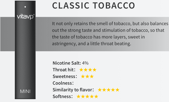 Vitavp Disposable Pod Classic Tobacco Flavor available at the best prices at Smokly.com
