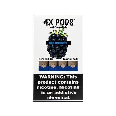4X Pods 6.5% Nicotine Salt Prefilled 1ML Replacement Compatible Pods - Blue Blackberry