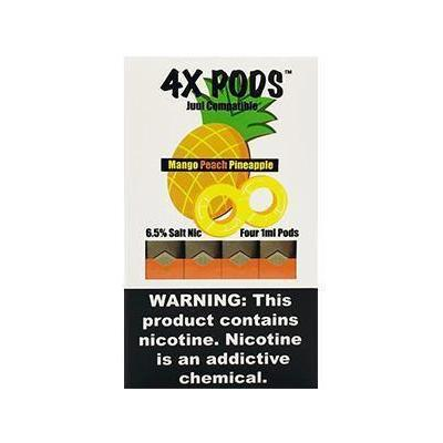 4X Pods 6.5% Nicotine Salt Prefilled 1ML Replacement Compatible Pods - Mango Peach Pineapple