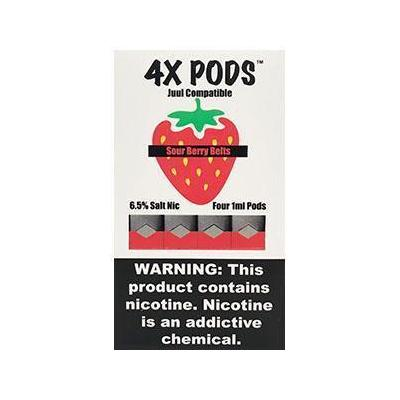 4X Pods 6.5% Nicotine Salt Prefilled 1ML Replacement Compatible Pods - Sour Berry Belts