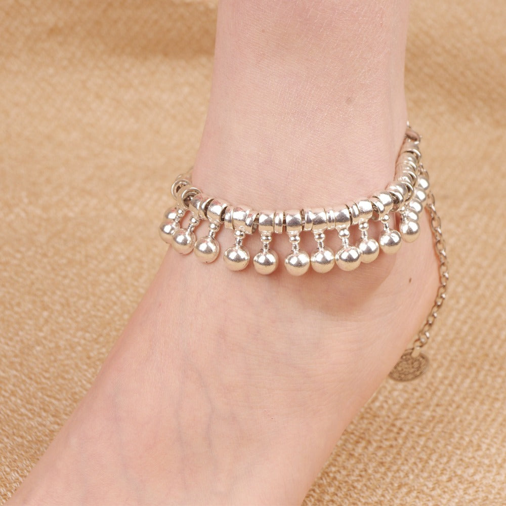 pin fits anklet with click bells ankles real sterling inch bracelets double silver ankle