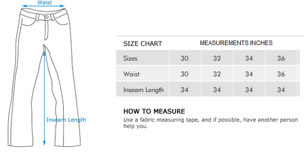 JEANS PANTS SIZE MEASUREMENT