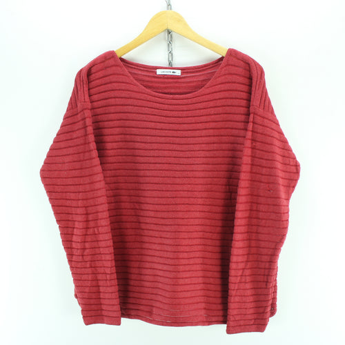 Lacoste Women's Sweater Size L 44 in Red Crew Neck Striped Long Sleeve