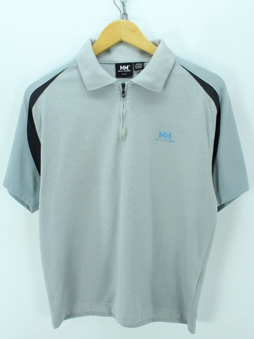 Helly Hansen Men's Polo Shirt Size M Blue Short sleeves Zip Neck Shirt