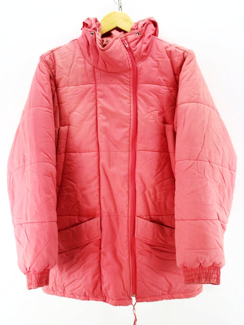 Vintage Women's Colmar Padded Jacket in Pink Hooded Long Puffer Coat
