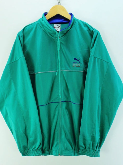 Vintage PUMA Men's Track Jacket Size XL Full Zip Green Track top