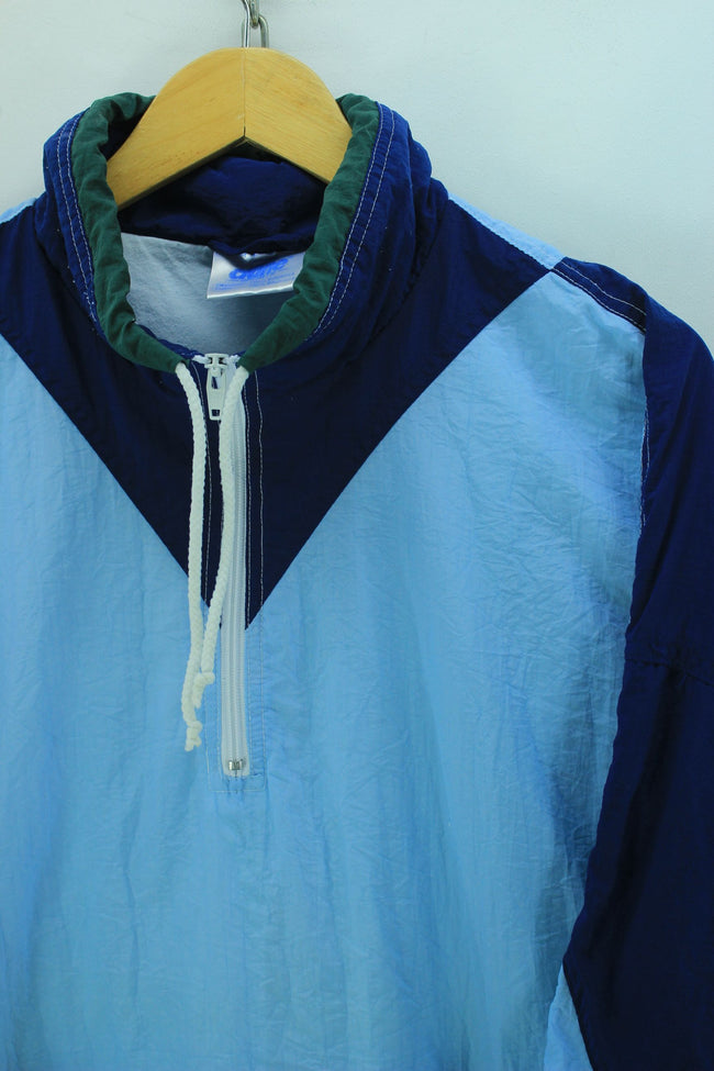 Vintage 90s Tracksuit Top Size L XL, Light Blue Funel Neck Sweater, Tracksuit, Top-Garms, - Top-Garms