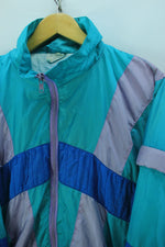 Vintage 80s Tracksuit Jacket Size L XL, Green Full zip Shell Tracktop, Tracksuit, Top-Garms, - Top-Garms