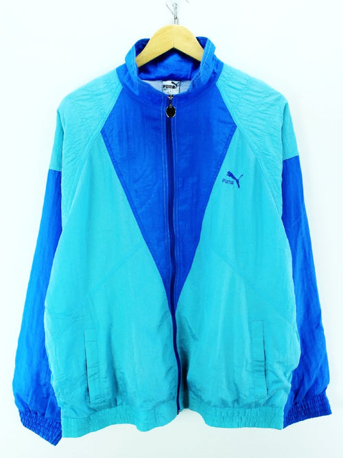 Vintage PUMA Track Jacket in Green Blue Size 9 Full Zip Shell Tracktop