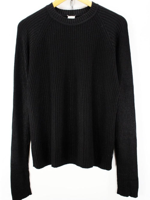 Calvin Klein Womens Sweater Size M in Black Crew Neck Viscose Long Sleeve