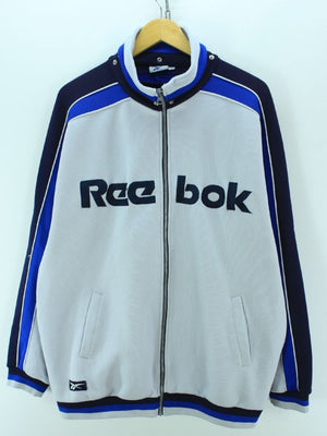 Vintage Reebok Track Jacket White & Blue Size 4 L Full zip Track Top