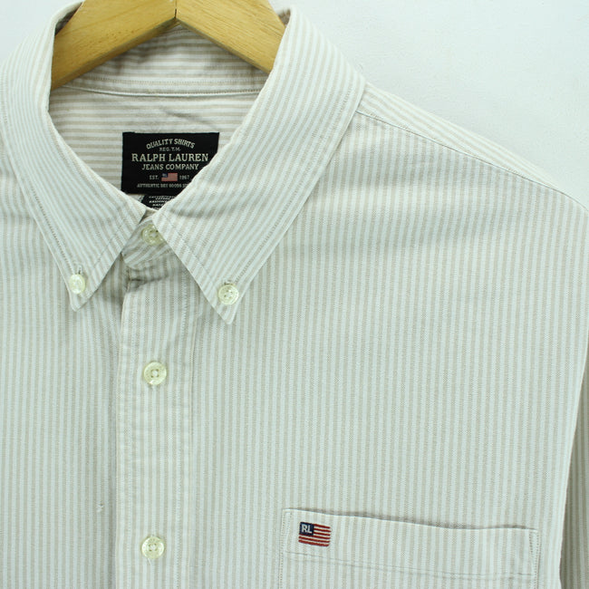 Ralph Lauren Men's Shirt Size L Long Sleeve Striped Cotton Ivory Top, Shirt, Ralph Lauren, - Top-Garms