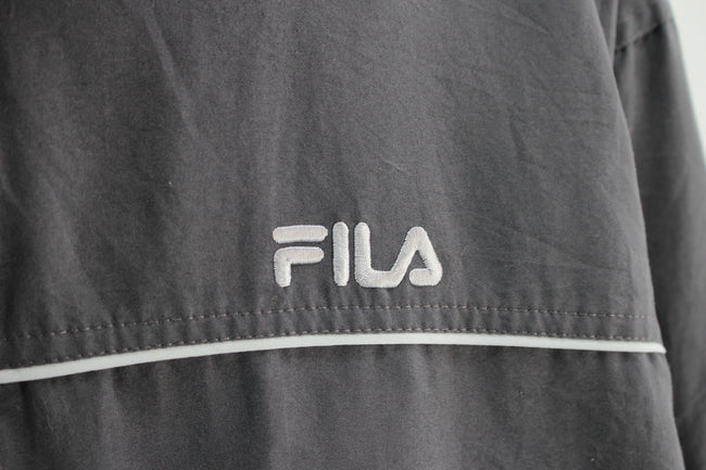 90s FILA Men's track Jacket, Size M, kakhi full zip shell tack top - Top-Garms